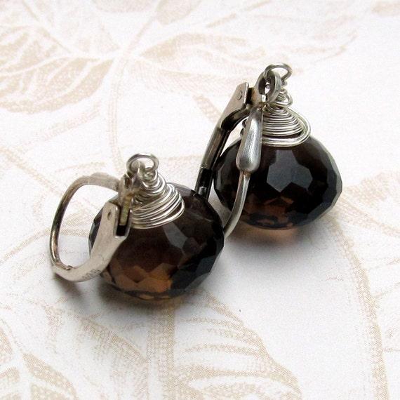 Smokey quartz earrings, handmade sterling silver chocolate kiss earrings-OOAK