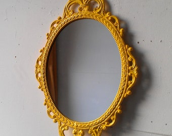 Yellow Mirror in 17x12 Inch Decorative Vintage Metal Frame, Small Bathroom or Vanity, Nursery Wall, Retro, Apartment, Home Decor Mirror