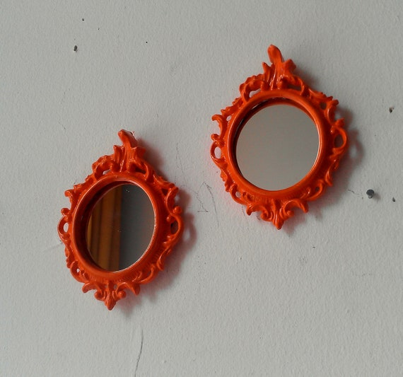 Oval Wall Mirror Set - Tiny Vintage Brass Frames in Flaming Orange