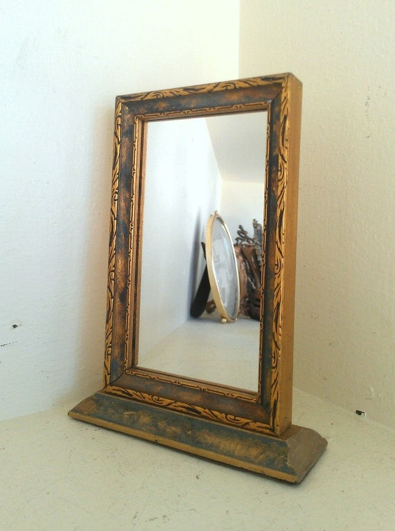 Small stand up mirror in antique wood frame by for Stand up mirror