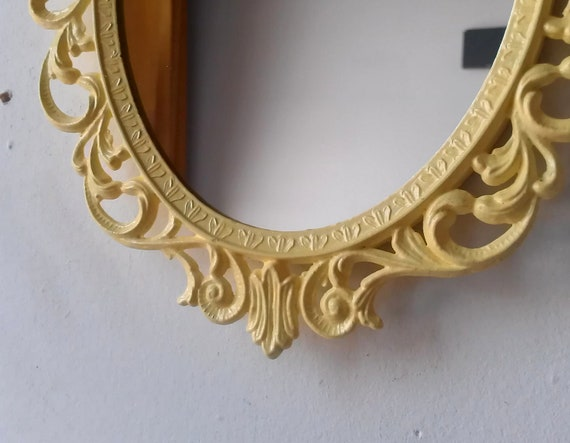 Pale Yellow Oval Princess Mirror in Ornate 10 by 7 Inch Vintage Metal Filigree Frame