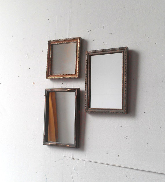 Decorative Mirror Set of Three in Antique Wood Frames
