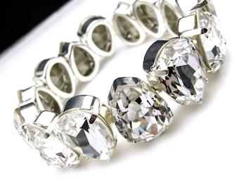 Bold statement bracelet bridal bracelet wedding Swarovski clear white teardrop fancy crystal rhinestone stretch bracelet - Free Us shipping