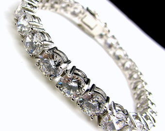 Bridal wedding bracelet christams bridesmaid party gift pageant quality clear white cubic zirconia diamon round AAA quality tennis bracelet