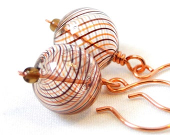 Blown Glass Jewelry, Handcrafted Earrings, Wire Wrapped Jewelry, Brown Swirled Earrings