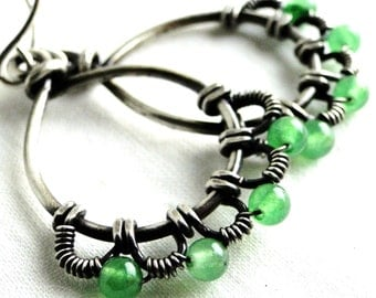 Wire Wrapped, Antiqued Sterling Silver, Green Aventurine, Wire Lace, Teardrop Earrings