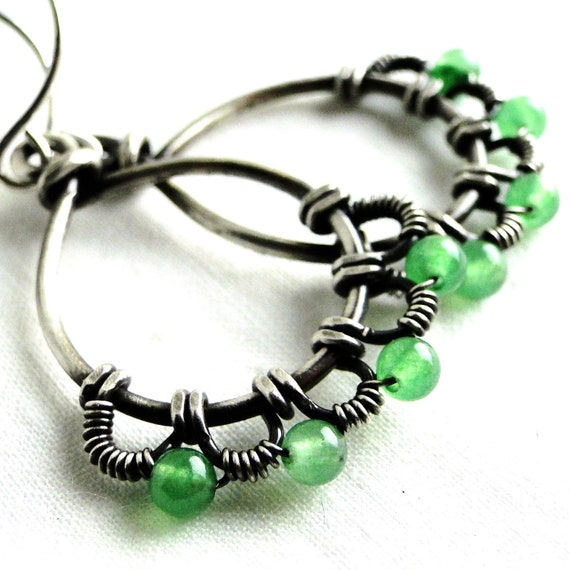 Wire Wrapped, Antiqued Sterling Silver, Green Aventurine, Wire Lace, Teardrop Earrings