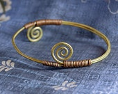 Handcrafted Hand Forged Double-spiral brass and copper bangle bracelet