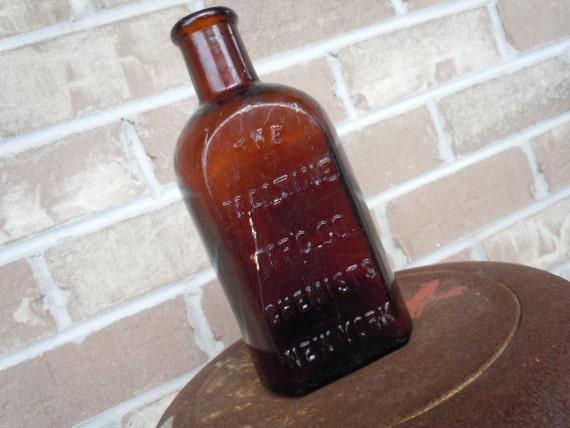 Vintage Glass Bottle Amber Embossed Lettering New York Medicine Rustic Antique