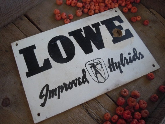 Vintage Farm Sign Seed Plot Hybrid Corn Illinois Lowe Seed Company Rustic Farmhouse Indian