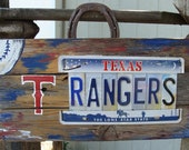 Texas Rangers Baseball License Plate Hand Painted Rustic Wood Sign,Man Cave,MLB,Boys Room,Dad,Father,Grandpa,Rangers Fan,Baseball