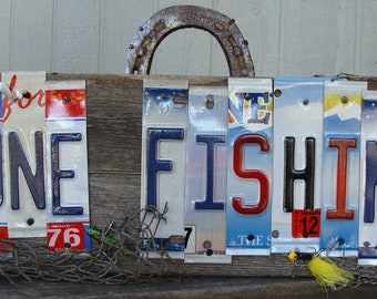 "Fishing License Plate Wood Sign ""Gone Fishing"",Fish,Outdoors,Camping,Angler,Fly Fishing,OOAK,Lures"