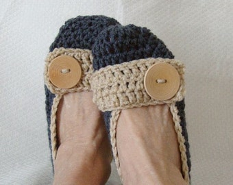 Crochet Slippers Womens Flats Slippers Denim and Tan