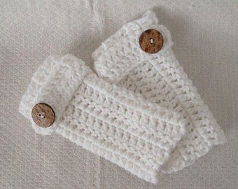 Fingerless mittens with Strap in White