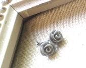 Tiny Gray Grey Rose Flower Stud Earrings, Romantic, Simple Little Earrings