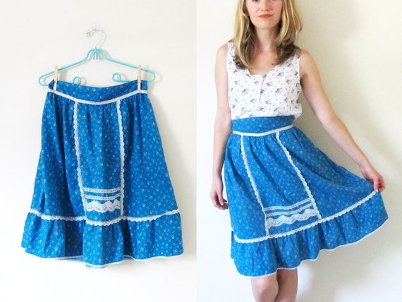 vintage 1970s skirt // Floral Print // Ruffles and Lace // Deep Turquoise and Pink // S/M
