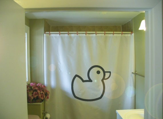 Rubber Duck Shower Curtain Bath Time Fun Ducky Toy By Eternalart