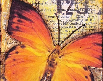 Mixed media / collaged ACEO - Orange butterfly