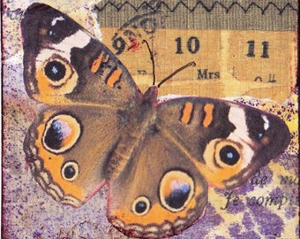 ACEO - an original Mixed Media collage - Brown Butterfly