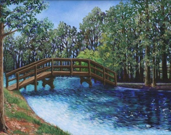 Landscape Art Print-Giclee 9x14- Bridge at Lake Tarpon Florida