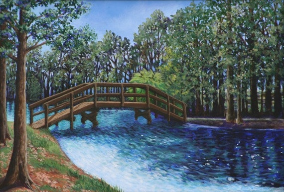 Landscape Art Print-Giclee 9x14- Bridge at Lake Tarpon Florida