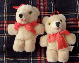 Two 80s vintage wool Teddy Bears -ornaments, new from old stock