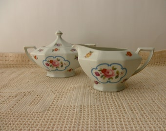 antique Victoria CREAMER and SUGAR-Made in Czechoslovakia, floral, shabby chic