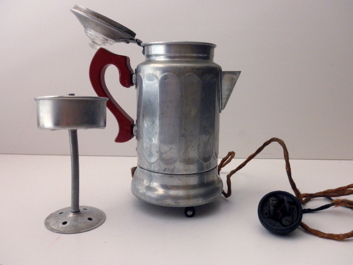 Electric Coffee Urn ~ Antique mirro electric coffee pot aluminum percolator red