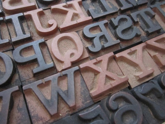 vintage rubber stamps - alphabet and numbers - complete - large font