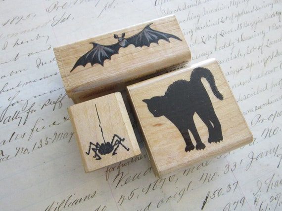 SALE - 3 rubber stamps - HALLOWEEN - black cat, spider, and bat - used, destash