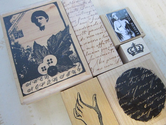 6 rubber stamps - COLLAGE, script, hand, vintage collage, nude, crown, handwriting - new and used - C5