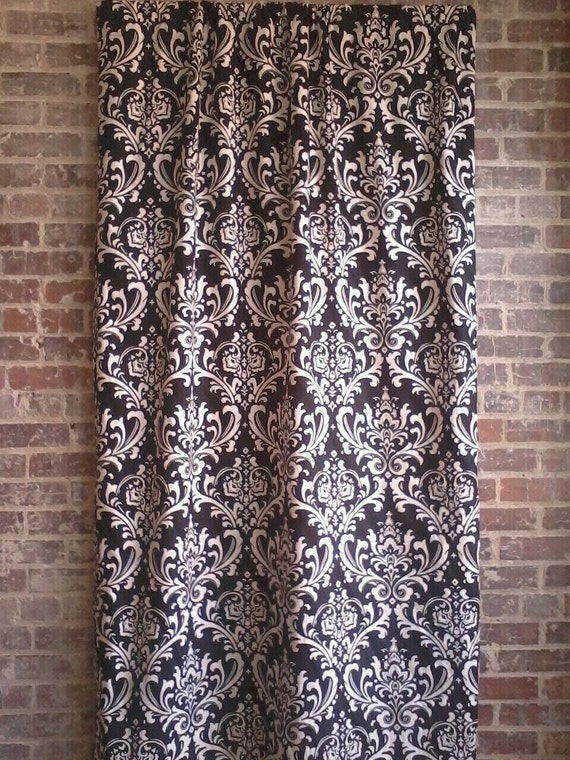 black and white damask curtain panels one set 90 by