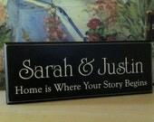 Custom...Home is where your story begins .....Carved Personalized Family Name Sign 8 x 20