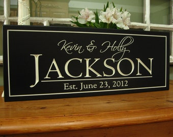 personalized family signs Bridal Shower Gift , Family Name Sign   Carved Personalized last Name Sign Wedding Gift 4S1