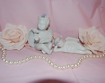 Vintage Cottage White Dreamy Cherub Figurines Lot of Two Matching Angels for Wedding Decor