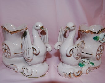 Rare Pink Swan Couple Planters Lot of Two Vintage 1950s Figurines Shabby Pink Cottage Collectibles at The Rose Rooms