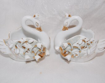 Lily White Swan Couple Trinket Ring Dish Figurines Vintage Vanity or Wedding Decor Lot of Two Lefton China Figurines at The Rose Rooms