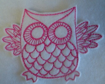 super cute retro style pink and white owl embroidered iron on patch