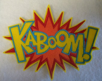 Extra large KABOOM super hero embroidered iron on patch