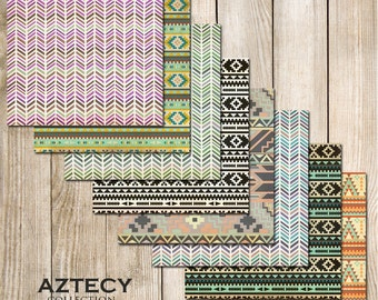 "Aztecy Digital Scrapbook Paper Pack (12x12""-300 dpi) -8 Digital papers"