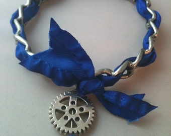 Antiqued Silver and Ribbon with Gear Bangle Bracelet