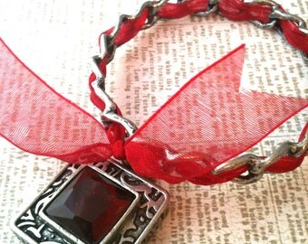 Gothic Red and Antiqued Silver Bangle Bracelet
