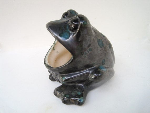 Wide mouth frog vintage retro ceramic sponge holder frog - Frog sponge holder kitchen sink ...