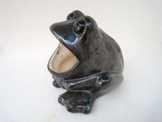 Wide Mouth Frog Vintage Retro Ceramic Sponge Holder Frog