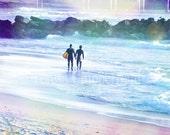 SURFER BOYS, Coastal Fun, Ocean Waves, Pacific Ocean, California Beach, Fine Art Photography, Nature, Blue Water, Relax, Sunshine,8x10,11x14