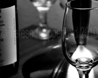 Black and White Photo Print, Fine Art Photography, More Wine Anyone, Romance, Party, Cozy, Wine Wall Art, Wine Bottle Home Decor, 8x10,16x20