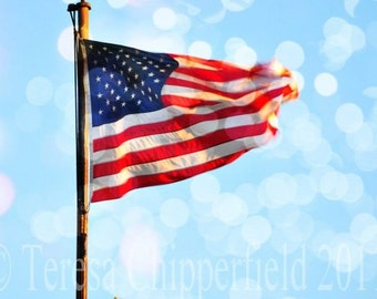 Fine Art Digital Photography, Patriotic, The Stars and Stripes, American Flag, 12x18, 8 x 12, Photo Print with Bokeh, Traditional Home Decor