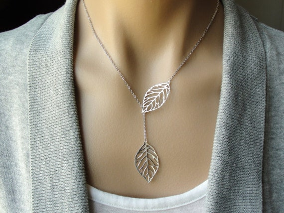 Silver Leaf Lariat - gift, wife, Christmas, daughter, sister, bridesmaid, wedding, birthday, mother, friend, romantic, gift for her
