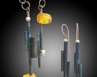 Modern forms-ancient materials set (earrings and necklace)