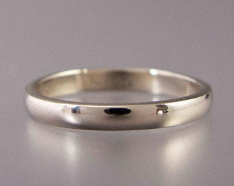14k White Gold Wedding Band - Solid gold 2.5mm Wide Half Round Ring for Bride or Groom